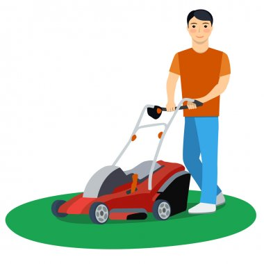 Vector illustration of a man with lawn mower