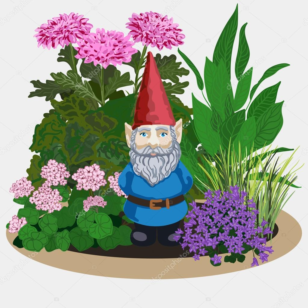 Garden gnome at plants