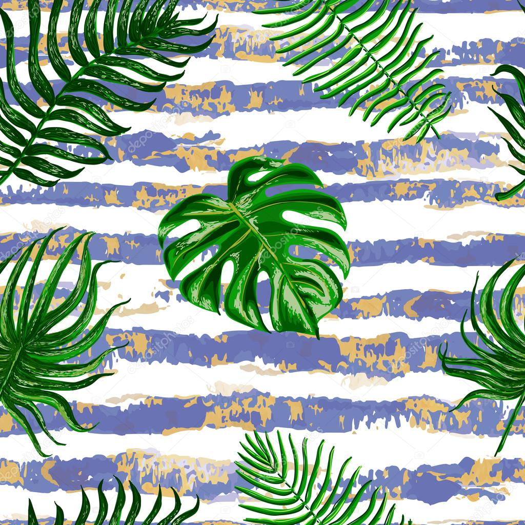 Vector seamless tropical leaves pattern on stripes background.