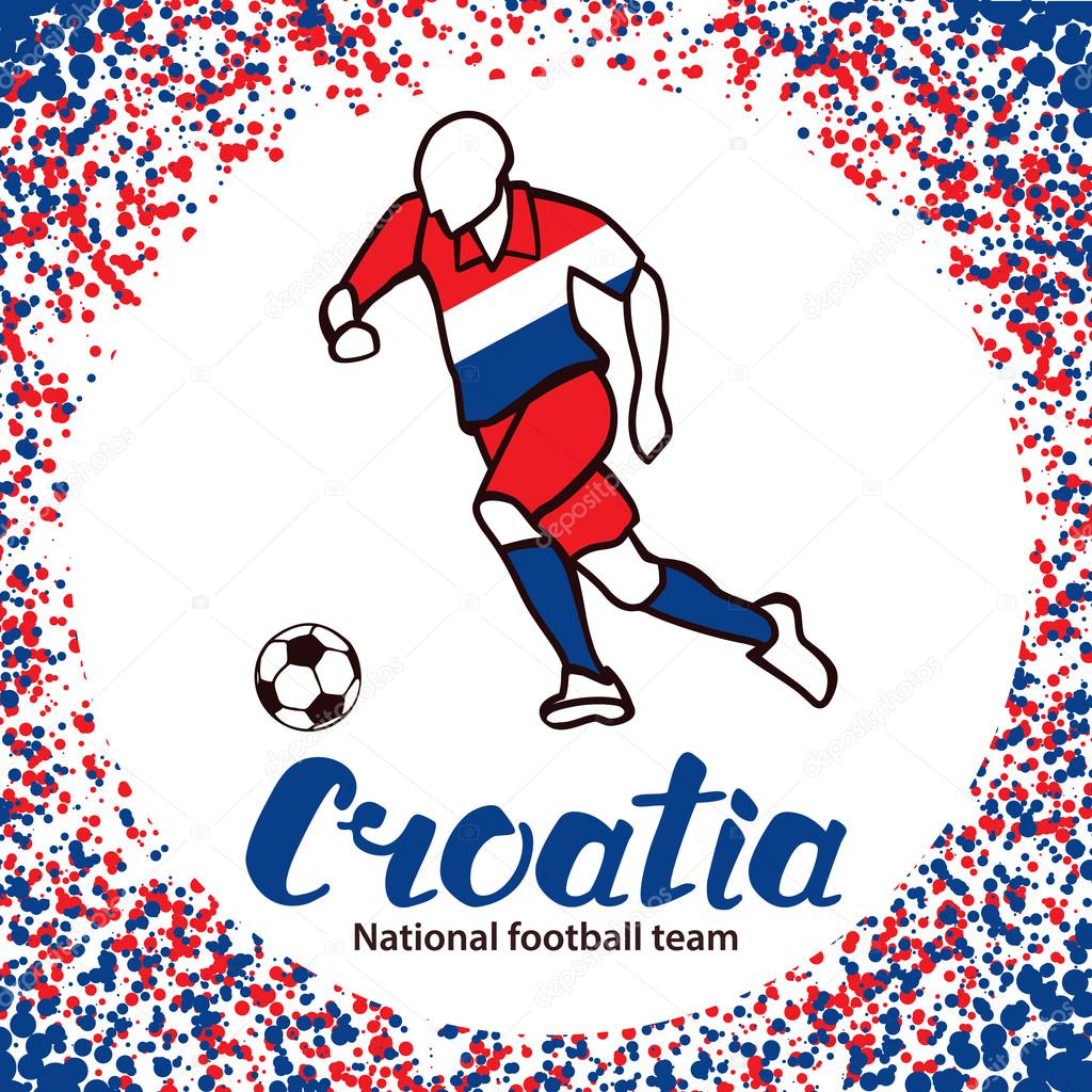 Croatia. National team of Croatia. Vector illustration with the football  player and the ball. Vector handwritten lettering.– stock illustration 47dcf6b4e