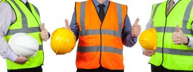 Three site surveyors in high visibility vests giving the thumbs up on a white isolated background stock vector