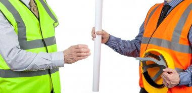 Two site surveyors in high visibility vests handing over site plans on a white isolated background stock vector