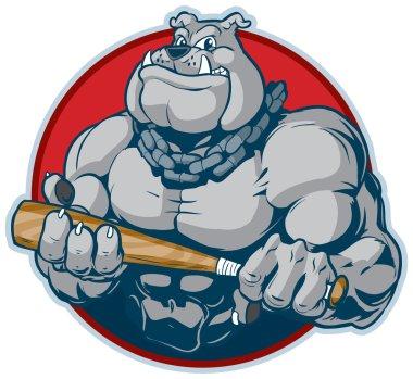 Muscular Bulldog with Bat Mascot Vector Illustration
