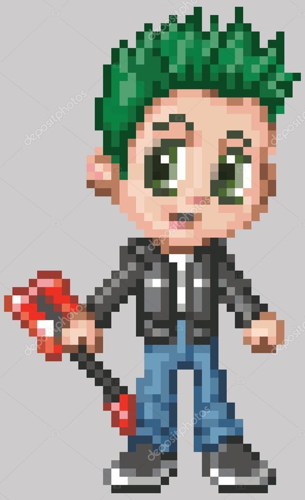 Anime Pixel Art Pixel Art Anime Punk Rocker Boy Stock Vector C Dolimac 103150918