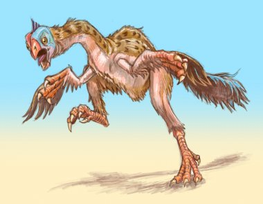 Gigantoraptor Dinosaur Running Illustration