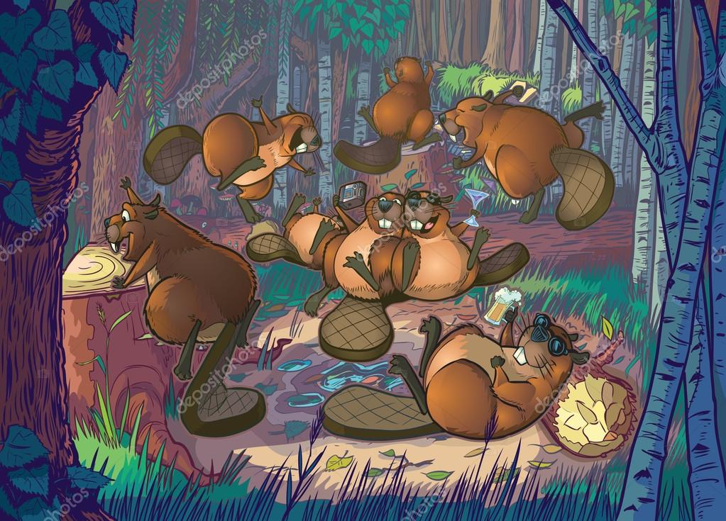 Cute Cartoon Beavers Party in A Forest Clearing
