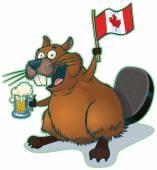 Kreslený Bobr s pivem a kanadská vlajka