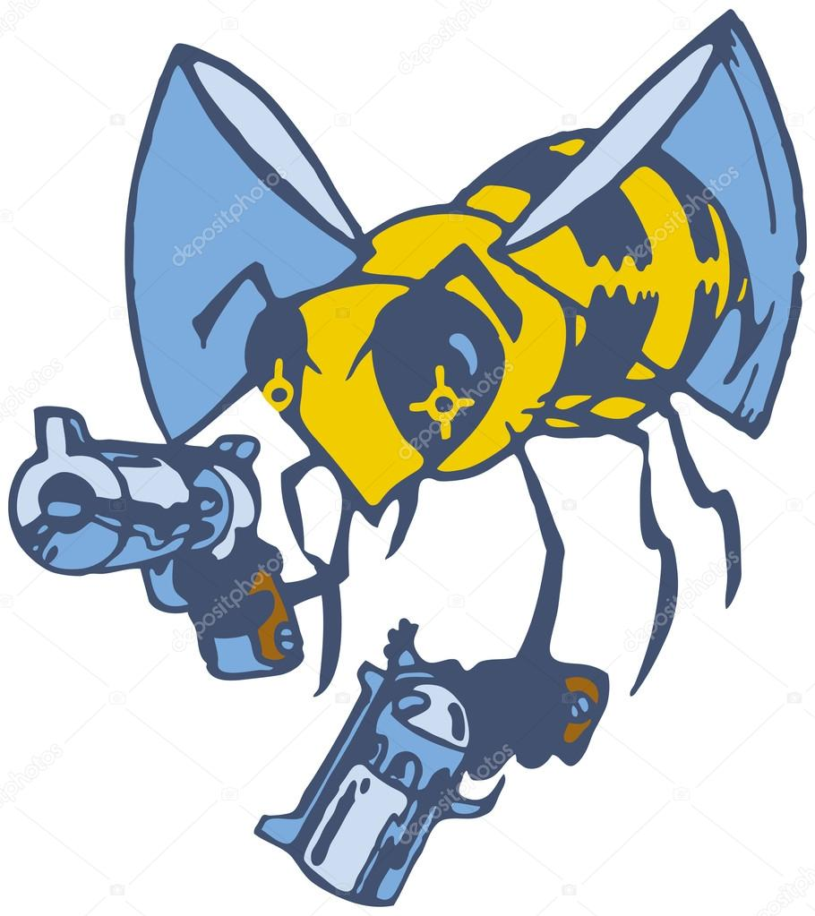 vector cartoon bee with two pistols u2014 stock vector dolimac