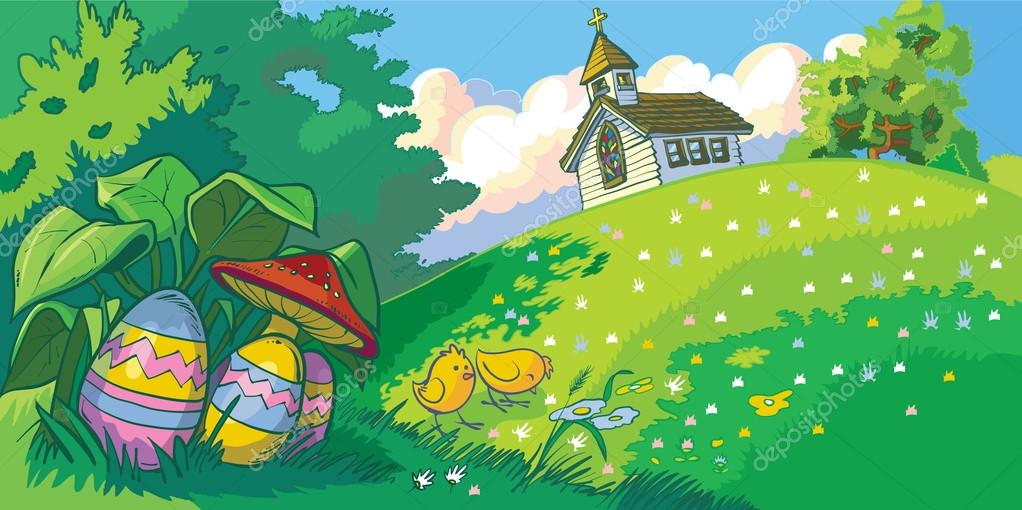 easter holiday landscape background with church and eggs vector