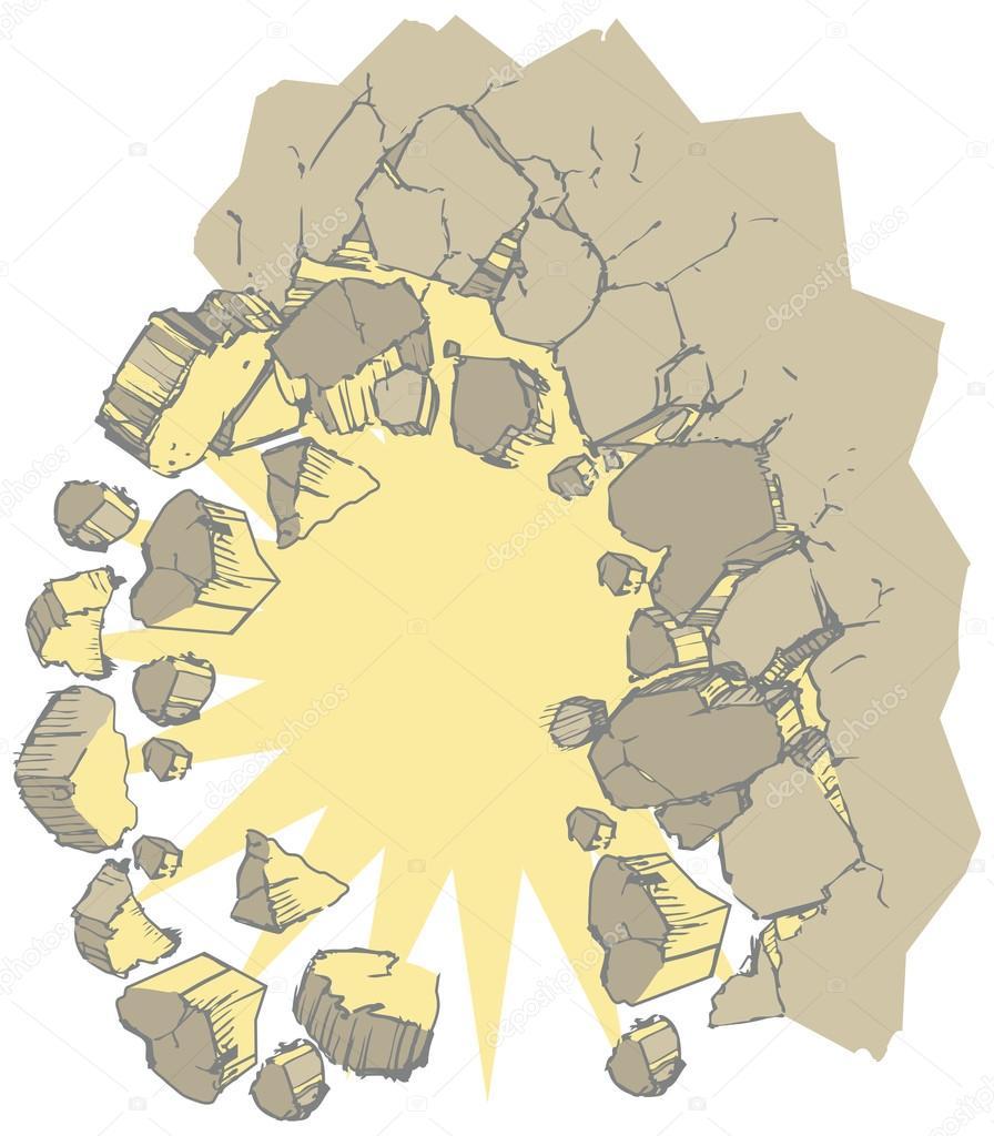 Exploding Wall Vector Clip Art Illustration — Stock Vector © Dolimac ...