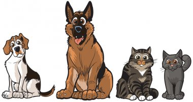 Group of Vector Cartoon Dogs And Cats Clip Art Illustration