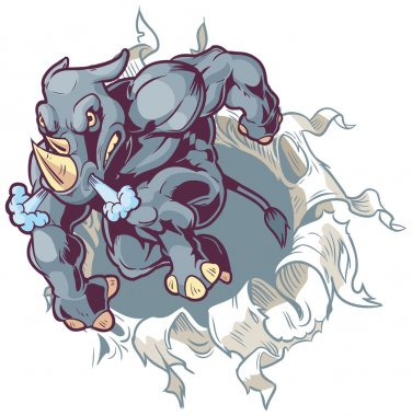 Crouched Mascot Rhino Ripping Through Paper Background Vector Cartoon Clip Art Illustration