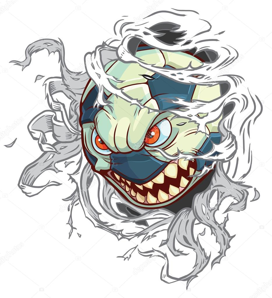 vector cartoon monster soccer ball ripping out background stock