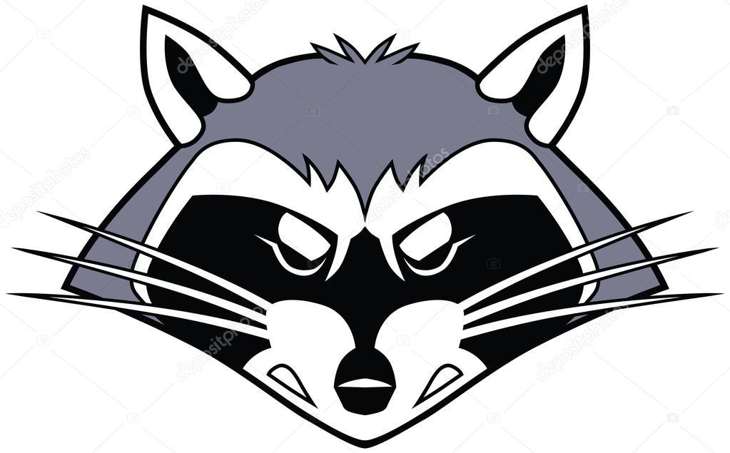 Mean Stylized Cartoon Raccoon Mascot Head — Stock Vector ... Raccoon Face Clip Art