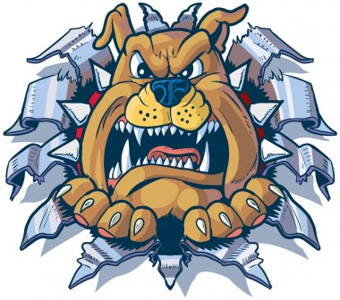 Bulldog Ripping out of Metal Background Vector Cartoon