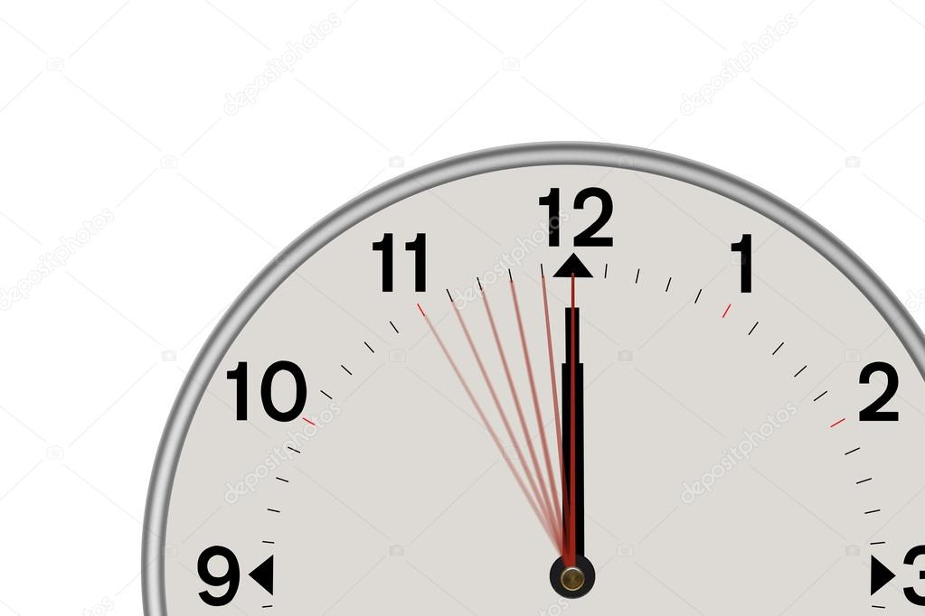 Clock showing a 5 second countdown (White background) — Stock Photo