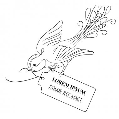 Fantasy bird flies and bears a label with the inscription. Contour black illustration isolated on white background. Hand drawing. Vector.