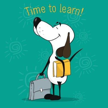 Positive motivating card. Illustration of a cartoon dog. Eager t