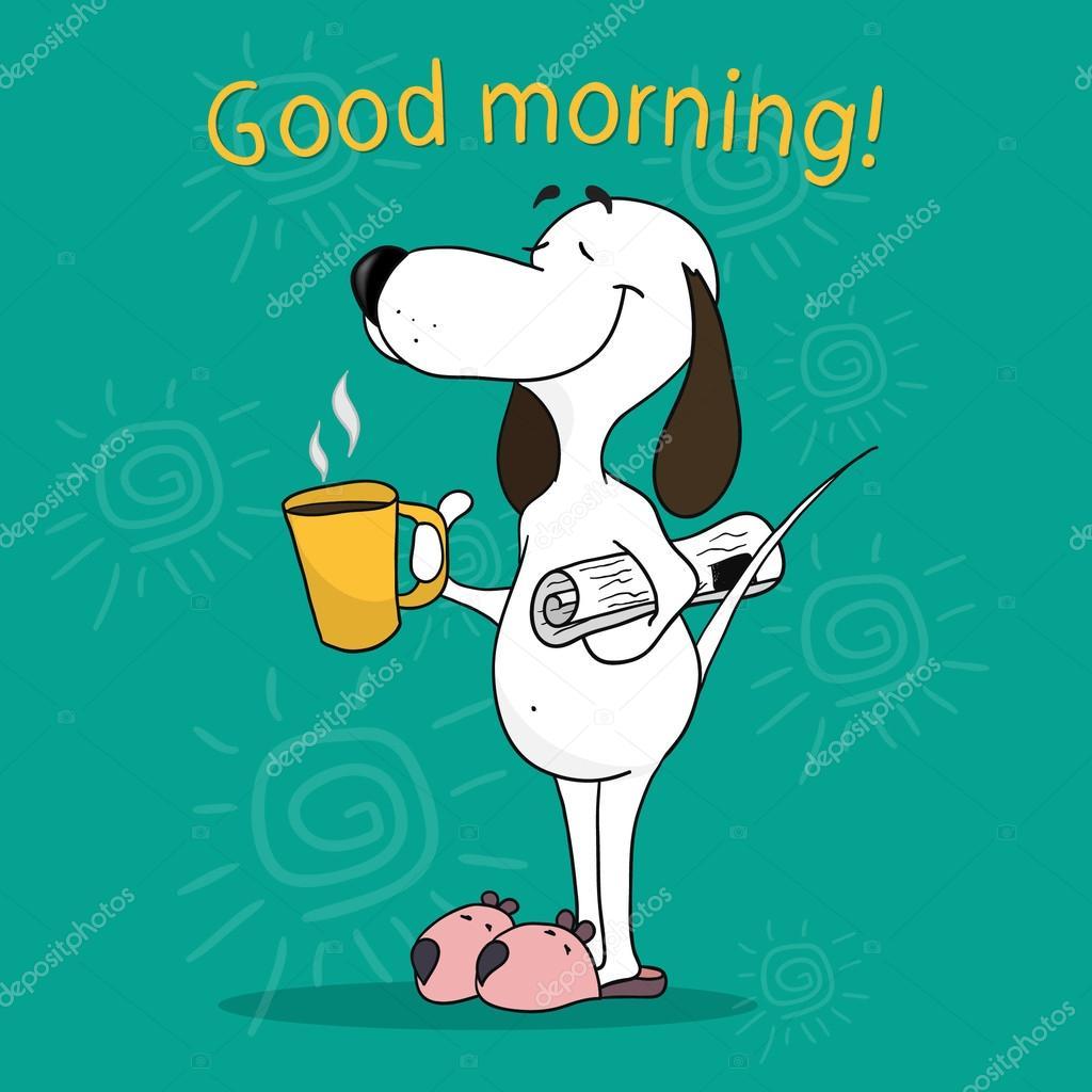 Tarjeta de motivación positiva. Dibujo de un perro de dibujos animados. Mo  buena —