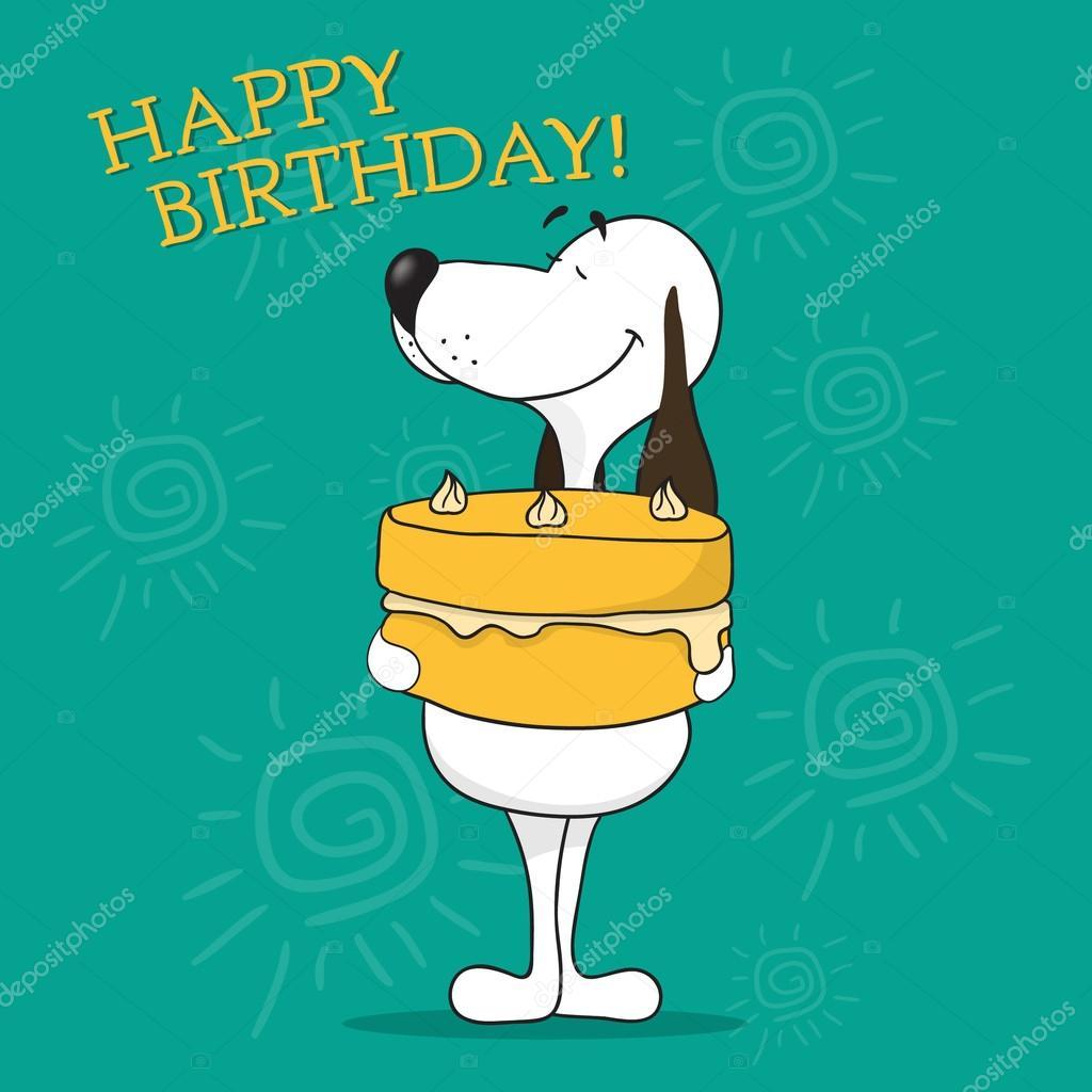 Happy BirthdayFunny Cartoon Dog Stock Vector