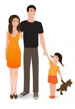 Happy family. The smiling people isolated on a white background. Mother, father and daughter. Vector realistic illustration.