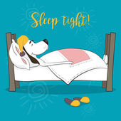 Fotografie The lovely animation dog sleeps in a bed. Wish good night