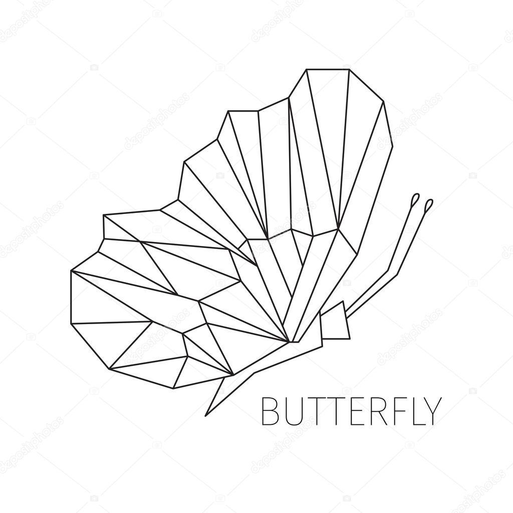 Papillon Dans Un Profil Limage Schématique De Figures Géométriques