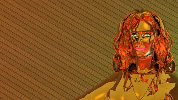 Golden girl on the background of metal tiles. Change the lighting.