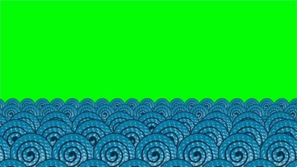 Textúrát, kerek formák rajzfilm hullámok. Zöld háttér.