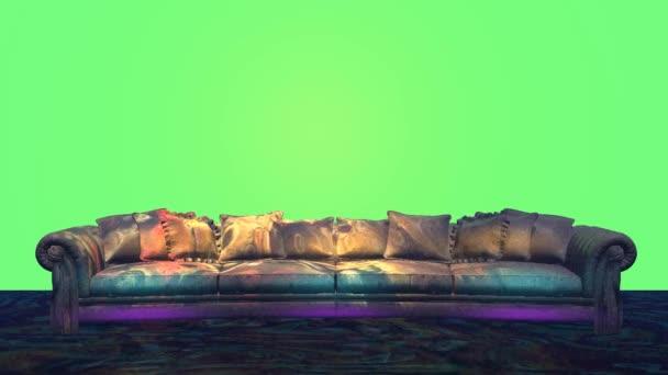 Pohovka v nočním klubu 3d modelu zelené pozadí