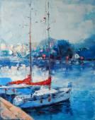Arte pittura a olio foto yacht ormeggiato in Italia