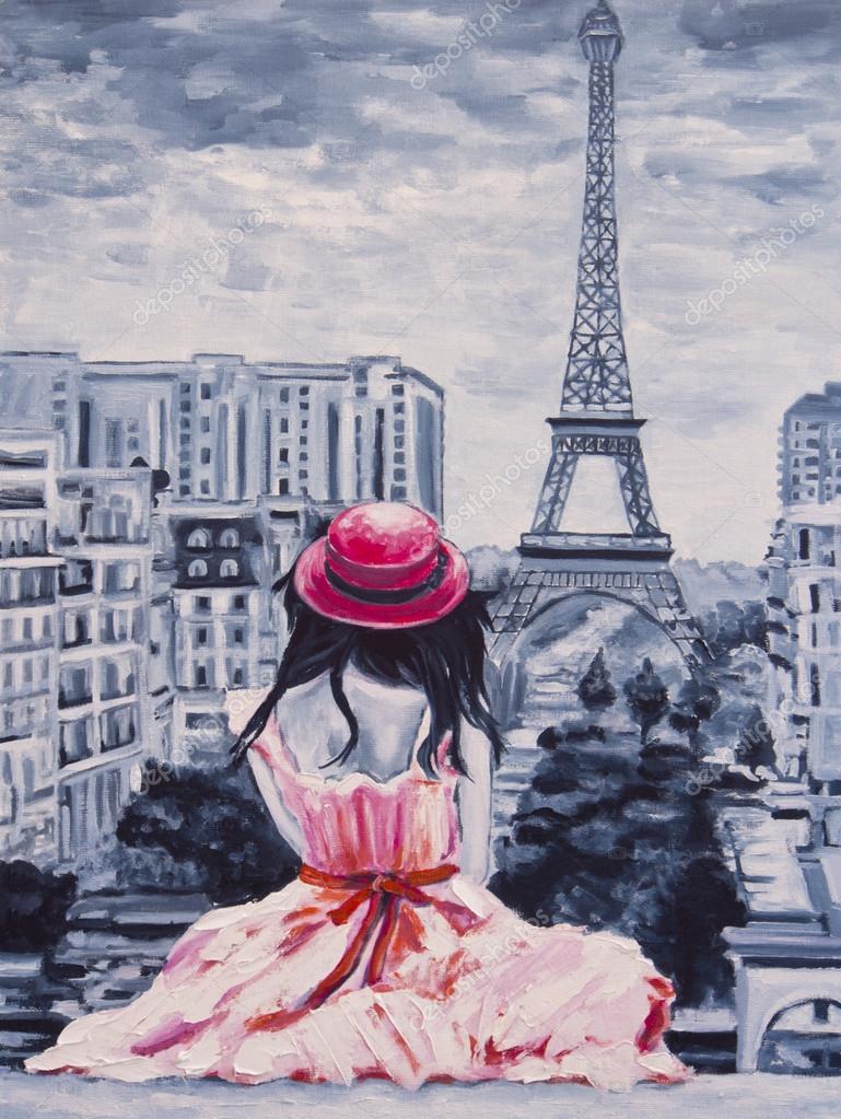 Art Oil-Painting Picture Romantic Lady in Paris