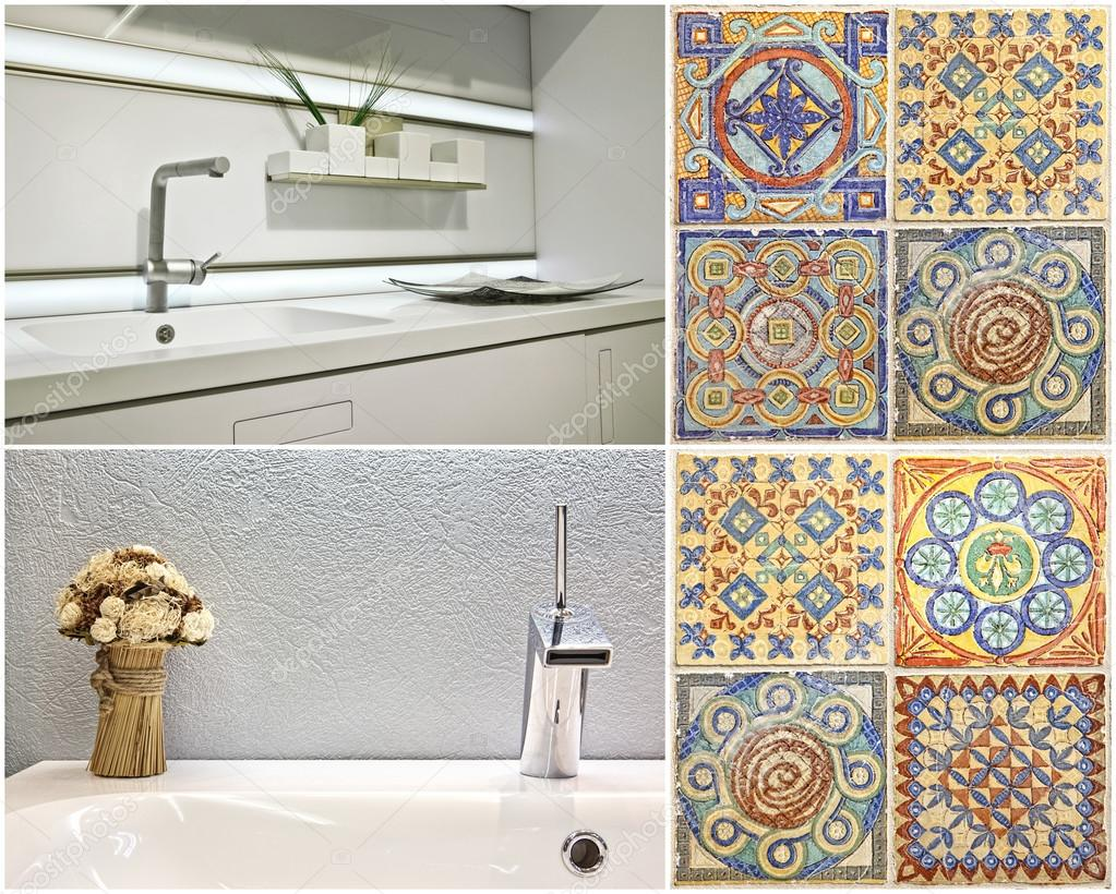 modern style of washbasin in the bathroom and the kitchen