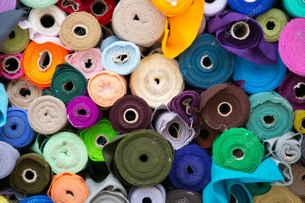 Colorful roll of Fabrics.