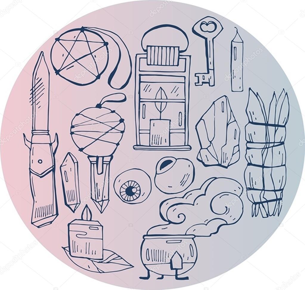 Hand Zeichnen Vektor Illustration Der Hexe Symbol Dinge Auf Rosa