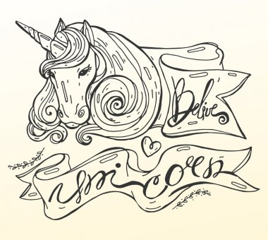 Isolated  hand draw sketch vector illustration in line art style of realistic unicorn in pink shades and frame