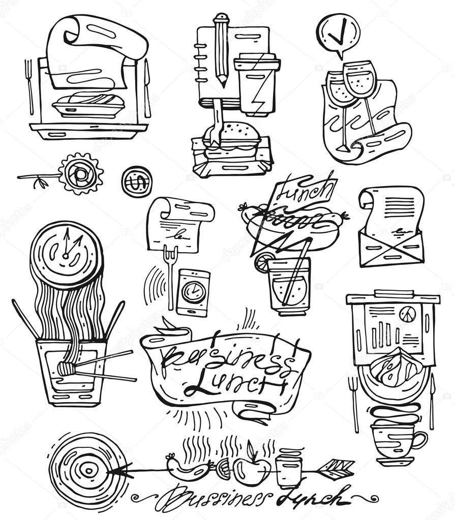 Hand Draw Vector Icons Set Of Business Lunch In Sketch Line Style