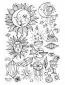 Fotografie Mystical geometry symbols set. Linear alchemy, occult, philosophical sign.