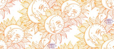 Sun, moon and zodiac seamless composition