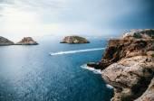 Fényképek Nézd a sziklák, a Santa Ponsa Mallorca sziget a vihar előtt