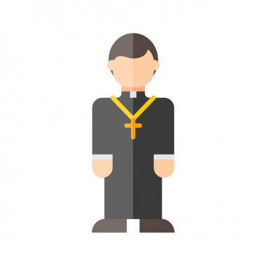 Catholic priest colorful flat icon