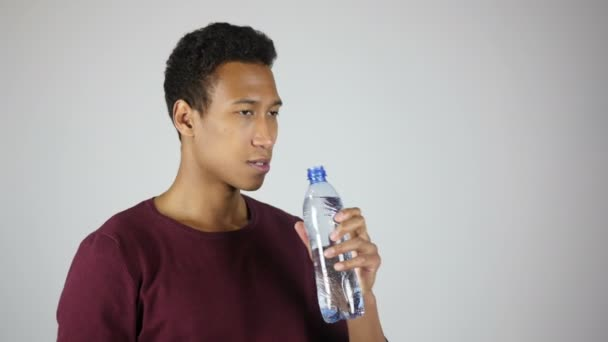 Thirsty Man Drinking Water from Bottle, Feeling Comfortable