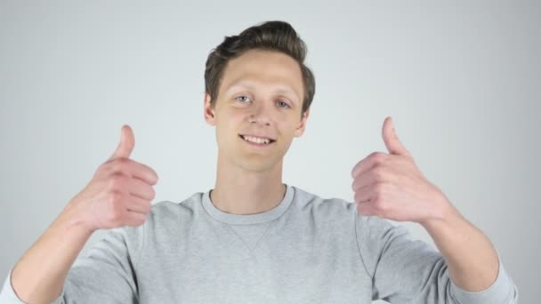 Both Hands Thumbs Up by Young Man, Success, Isolated