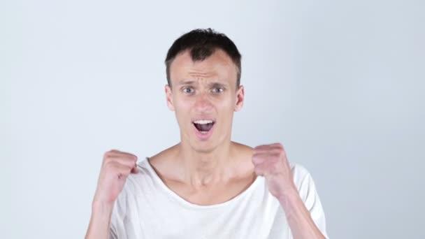Shocked upset man getting bad news , Hacked account  , online gambling