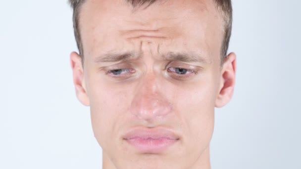 Trauriges Gesicht Des Jungen Kerl Menschen Weinen Tranen