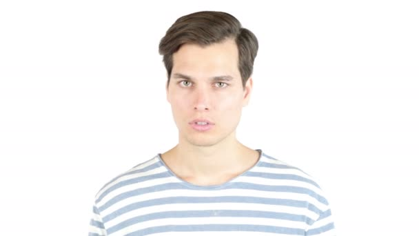 Pohledný muž sykavých gesto ukazovák na rty