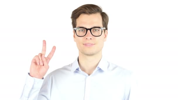 business, success, gesture and people concept , victory sign gesture