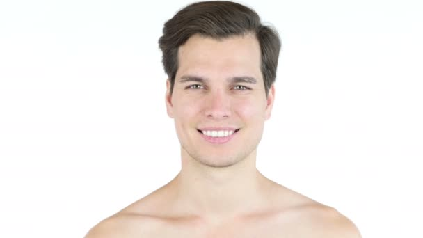 Portrait of handsome man with big smile  shirtless