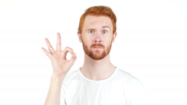 people, vision and success concept , showing ok sign , red hair man portrait