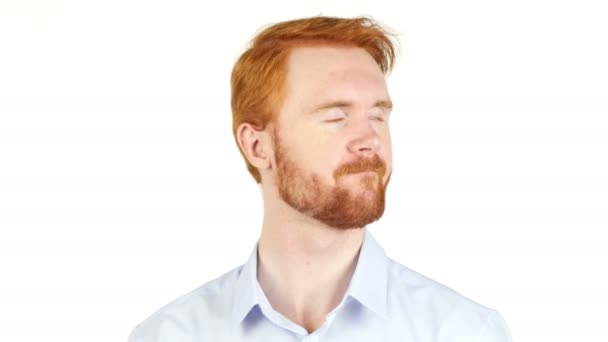 Portrait of angry red hair  businessman disagree concept